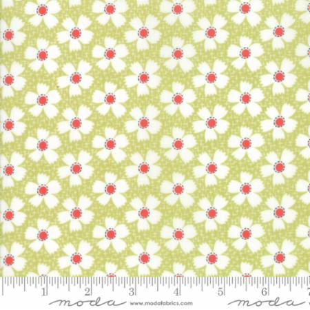 """Farmhouse II""-Floral Daisies Gingham Light Green by Fig Tree Quilts for Moda"