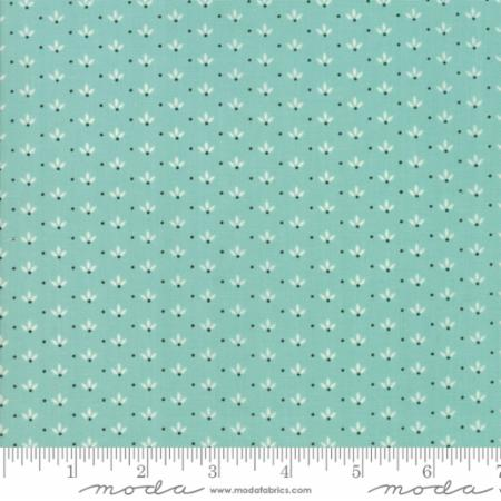 """Farmhouse II""-Floral Dandelion Wisps Aqua by Fig Tree Quilts for Moda"