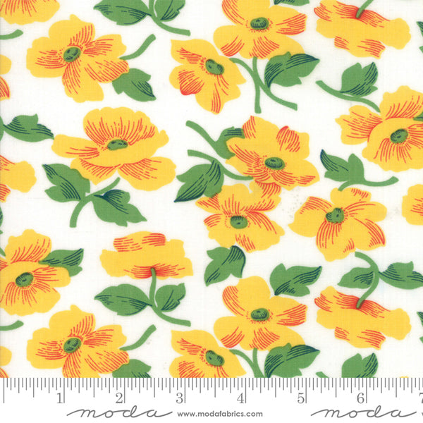 """Feed Sacks Red Rover""-Reproduction Prairie Rose Yellow by Linzee Kull McCray for Moda"