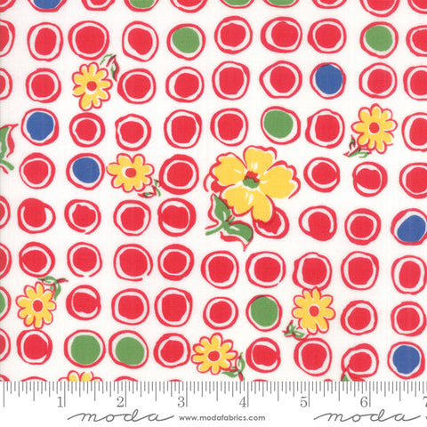 """Feed Sacks Red Rover""-Reproduction Bubbles Blooms Red by Linzee Kull McCray for Moda"