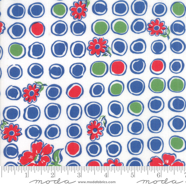 """Feed Sacks Red Rover""-Reproduction Bubbles Blooms Dark Blue by Linzee Kull McCray for Moda"
