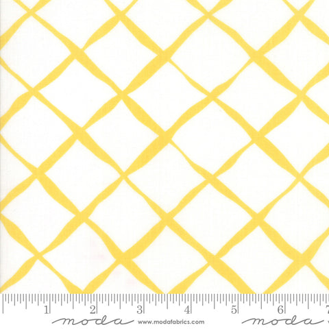 """Feed Sacks Red Rover""-Reproduction Trellis Yellow by Linzee Kull McCray for Moda"