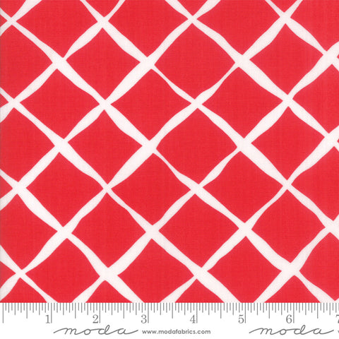 """Feed Sacks Red Rover""-Reproduction Trellis Red by Linzee Kull McCray for Moda"