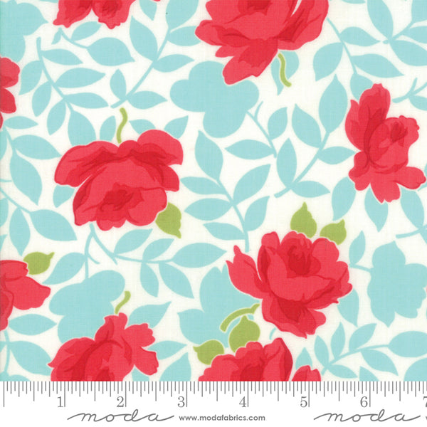"""Little Snippets""-Floral Vintage Rose Aqua by Bonnie & Camille for Moda"