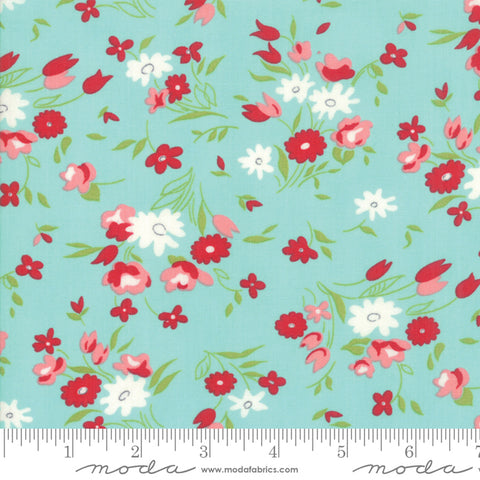 """Little Snippets""-Floral Fresh Cut Aqua by Bonnie & Camille for Moda"
