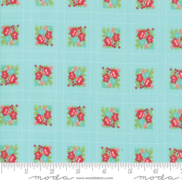 """Little Snippets""-Floral Forget Me Not Aqua by Bonnie & Camille for Moda"