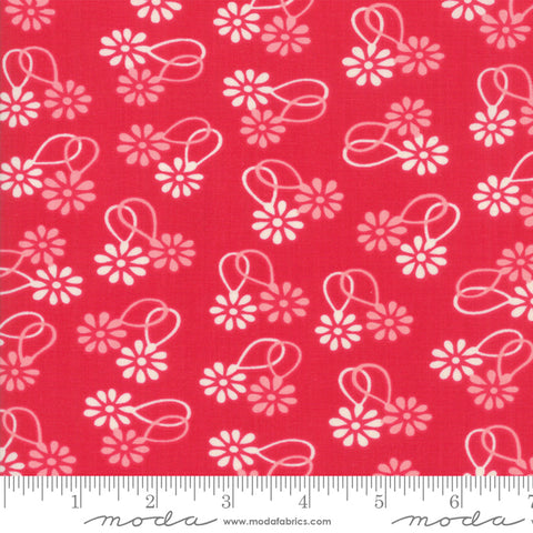 """Cheeky""- Floral Daisy Chain Red Rose by Urban Chiks for Moda"