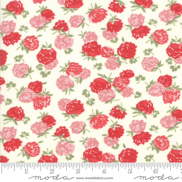 """At Home""-Blossoms Cream Red by Bonnie & Camille for Moda"