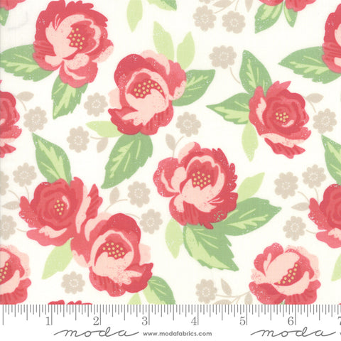 """Bloomington""-Eggshell Faded Blooms  by Lella Boutique for Moda"