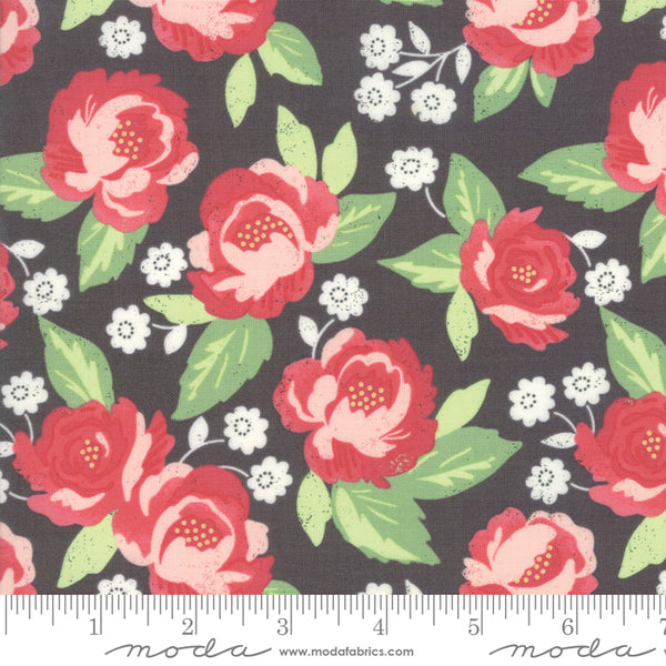 """Bloomington""-Charcoal Faded Blooms by Lella Boutique for Moda"