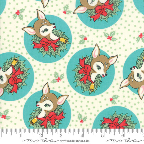 """Deer Christmas""-Polka Dot Deer Coolmint by Urban Chiks for Moda"