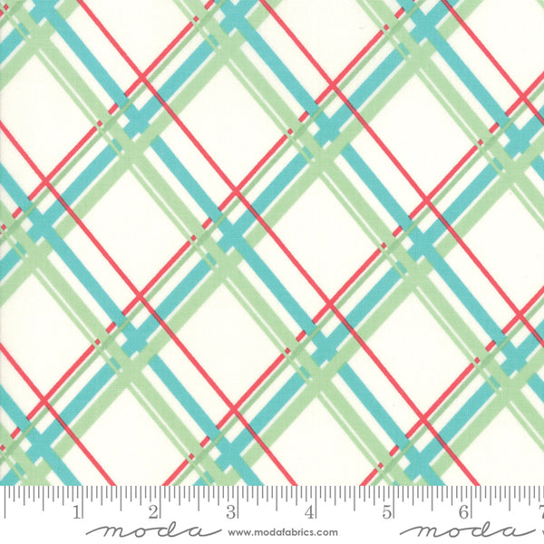 """Deer Christmas""-Plaid Marzipan Coolmint  by Urban Chiks for Moda"