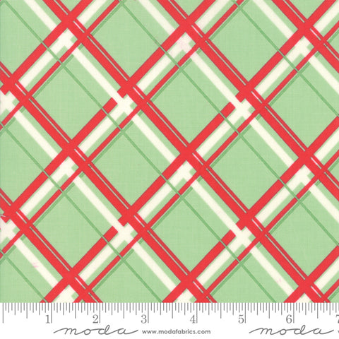 """Deer Christmas""-Plaid Spearmint  by Urban Chiks for Moda"