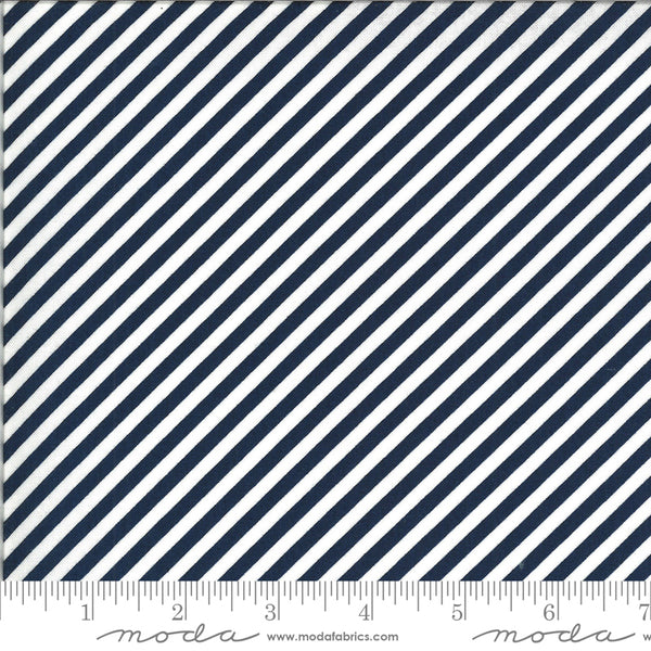 """Shine On""-Stripe Navy by Bonnie & Camille for Moda"
