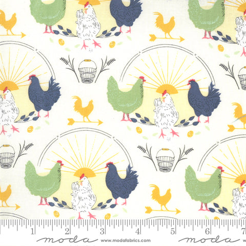 """Break Of Day""-Greet The Day Novelty Chickens Natural by Sweetfire Road for Moda"