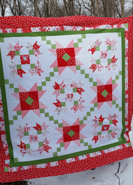 Purely Petals Kewpie Love Quilt Kit by Taunja Kelvington of Carried Away Quilting