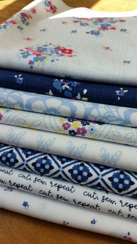 """Blue Carolina""-Bundled Beauties 1/2 Yard Bundle"