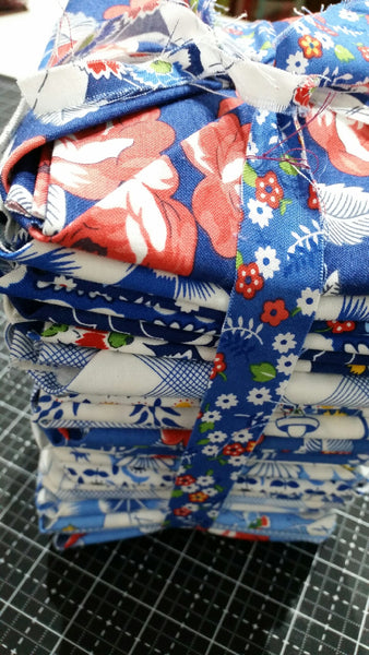 """Feed Sacks: True Blue"" 25 piece Fat Quarter Bundle by Linzee Kull McCray for Moda"