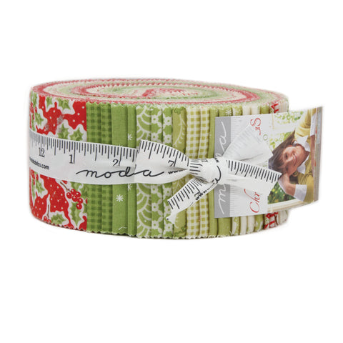 """Christmas Figs"" Jelly Roll 40 Pc by Fig Tree Quilts for Moda"