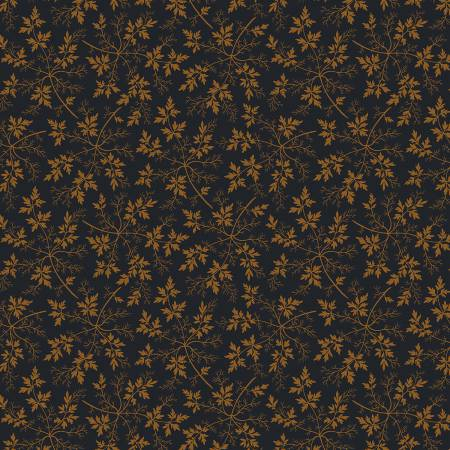 """Modern Antiques"" Navy Leaves by Rose Ann Cook for Benartex"