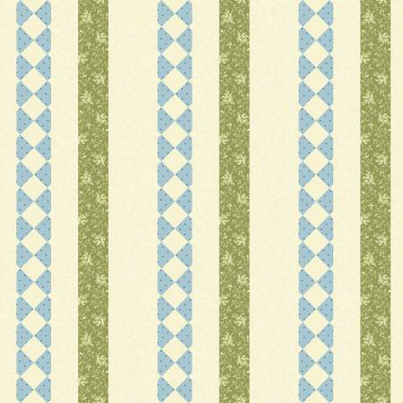 """Modern Antiques"" Teal Borders by Rose Ann Cook for Benartex"