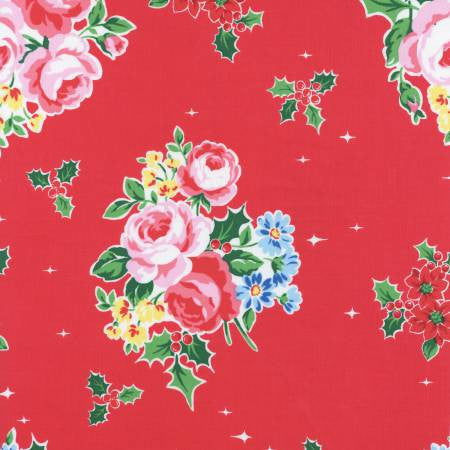 """Red Floral & Holly""- In Holiday by Lecien Japan for Checker"