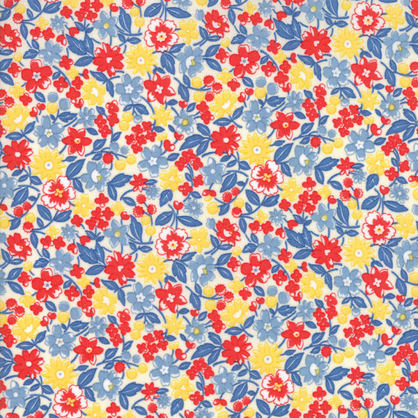 """Multi""-Floral Kids Bloomin Bouquet Sky 30's Playtime 2017 by Chloe's Closet for Moda"