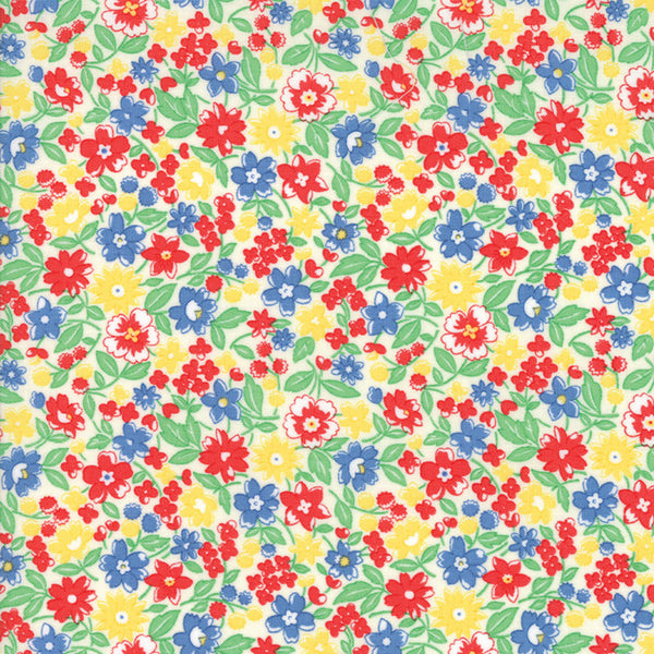 """Multi""-Floral Kids Bloomin Bouquet Green 30's Playtime 2017 by Chloe's Closet for Moda"