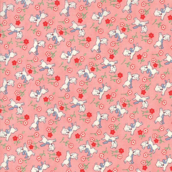 """Pink""-Floral Kids Perky Pups Pink 30's Playtime 2017 by Chloe's Closet for Moda"