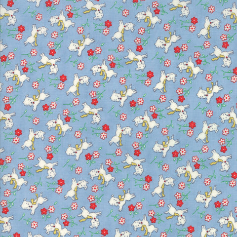 """Light Blue""-Floral Kids Perky Pups Sky 30's Playtime 2017 by Chloe's Closet for Moda"