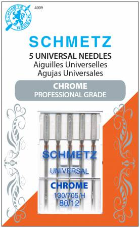 Chrome Universal Schmetz Needle 5 ct, Size 80/12