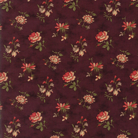 """Blossoms Buds Purple"" Burgundy-Courtyard by 3 Sisters for Moda"