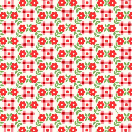 """Sugar Sack"" Red Gingham Floral from Windham for Whistler Studios"