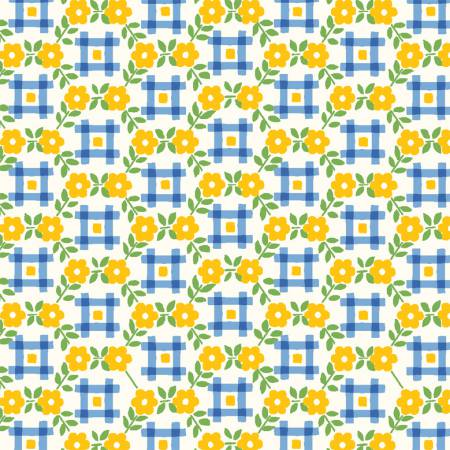 """Sugar Sack"" Yellow Gingham Floral from Windham for Whistler Studios"