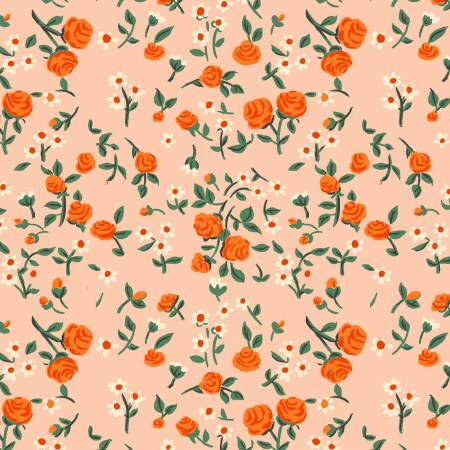 """Trixie""- Peach Mousies Floral by Heather Ross for Windham"