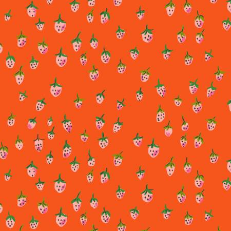 """Trixie""- Orange Field Strawberries by Heather Ross for Windham"