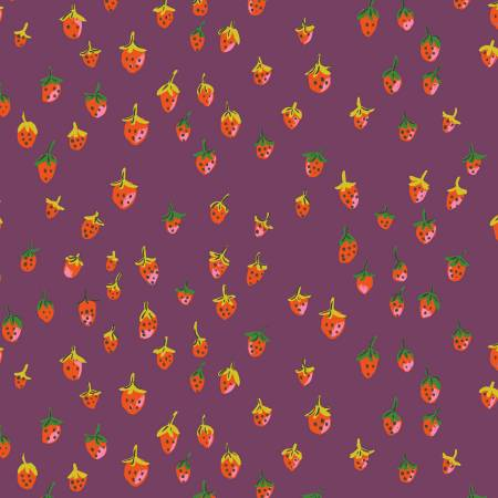 """Trixie""- Plum Field Strawberries by Heather Ross for Windham"