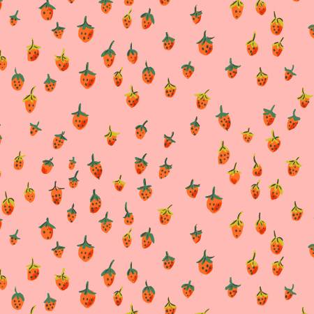 """Trixie""- Pink Field Strawberries by Heather Ross for Windham"