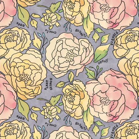 """Potpourri""-Lavender Bed of Roses by Laura Heine for Windham Fabrics"