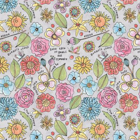"""Potpourri""-Grey Smell the Flowers by Laura Heine for Windham Fabrics"