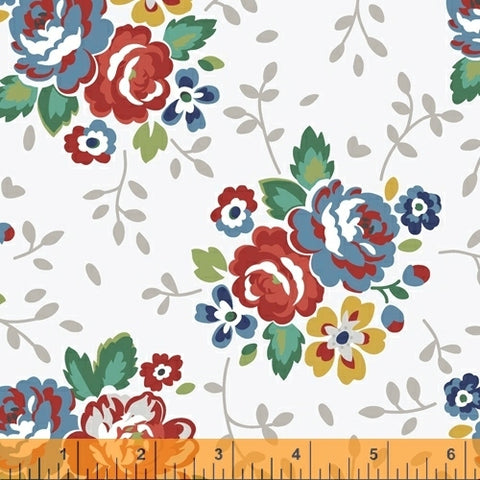 """Backyard Blooms""-White Floral by Allison Harris for Windham Fabrics"