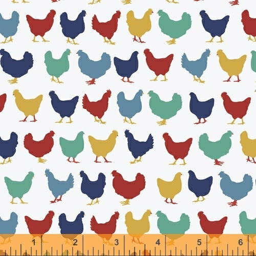 """Backyard Blooms""-White Chickens by Allison Harris for Windham Fabrics"
