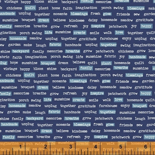 """Backyard Blooms""-Navy Words by Allison Harris for Windham Fabrics"