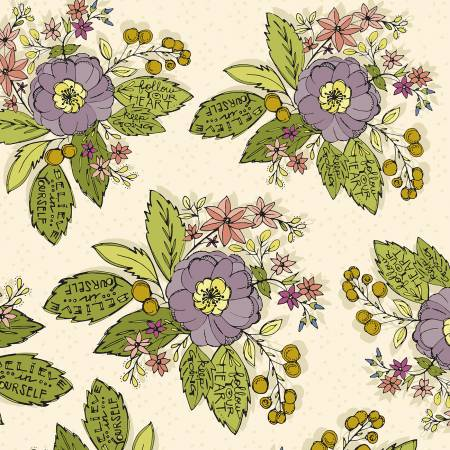 """Bubbies Buttons & Blooms""-White Bouquet Floral by Kori Turner Goodhart for Windham Fabrics"