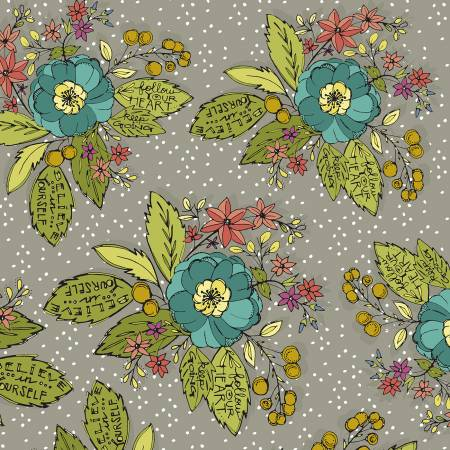 """Bubbies Buttons & Blooms""-Grey Bouquet Floral by Kori Turner Goodhart for Windham Fabrics"