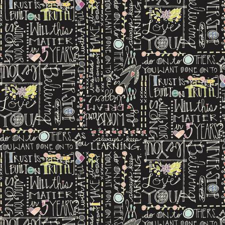 """Bubbies Buttons & Blooms""-Black Words by Kori Turner Goodhart for Windham Fabrics"