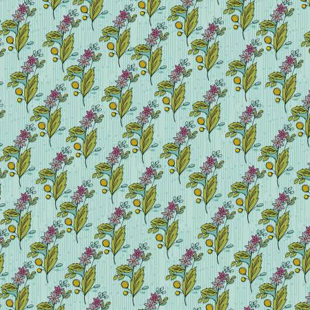 """Bubbies Buttons & Blooms""-Sky Floral by Kori Turner Goodhart for Windham Fabrics"
