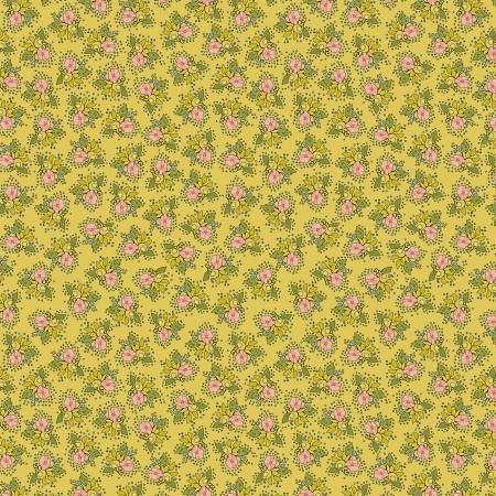 """Bubbies Buttons & Blooms""-Yellow Floral by Kori Turner Goodhart for Windham Fabrics"