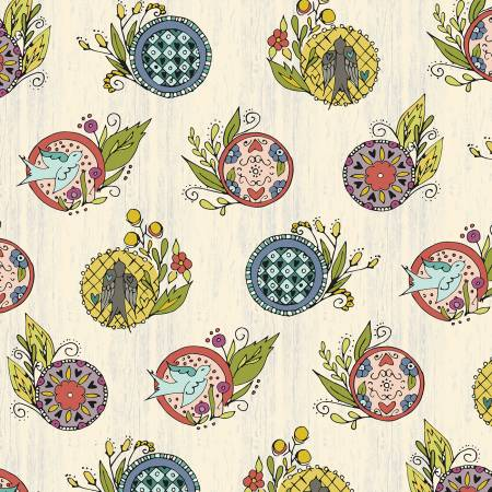"""Bubbies Buttons & Blooms""-White Medallion by Kori Turner Goodhart for Windham Fabrics"