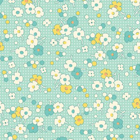 """Nana Mae II"" Aqua Floral Dot 1930's Collection from Henry Glass"